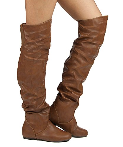 RF ROOM OF FASHION Women's Trend-Hi Over-The-Knee Thigh High Flat Slouchy Shaft Low Heel Boots by Room Of Fashion Cognac PU (13)