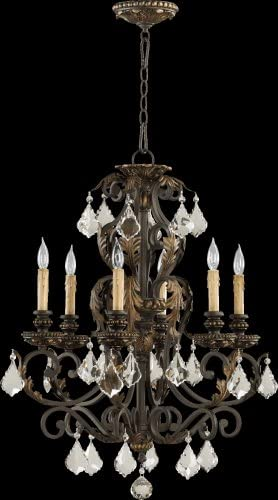 Quorum 6157-6-44 Rio Salado – Six Light Chandelier, Toasted Sienna Mystic Silver Finish with Clear Crystal