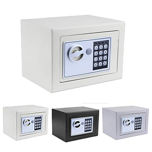 - Security Safe, Fireproof Lock Box with Digital Lock Wall Safe for Jewelry Gun Cash Storage (White)