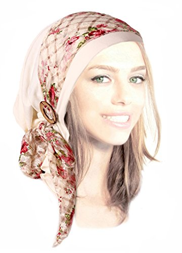 Soft cotton pre-tied headscarf head-wrap boho chic handmade coconut buttons or buckles! (Cream floral - (Handmade Coconut Button)