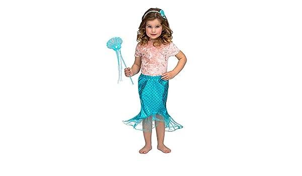 DISBACANAL Falda Sirenita niña y Accesorios - Azul, 3-6 años ...