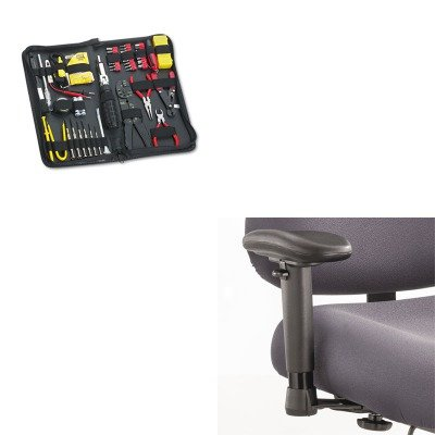 Adjustable Tpad Arm Kit - KITFEL49106SAF3591BL - Value Kit - Safco Height/Width-Adjustable T-Pad Arms for Optimus Big amp;amp; Tall Chairs (SAF3591BL) and Fellowes 55-Piece Computer Tool Kit in Black Vinyl Zipper Case (FEL49106)