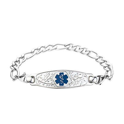 Divoti Custom Engraved Beautiful Olive Medical Alert Bracelet -Figaro Stainless -Deep Blue-7.0