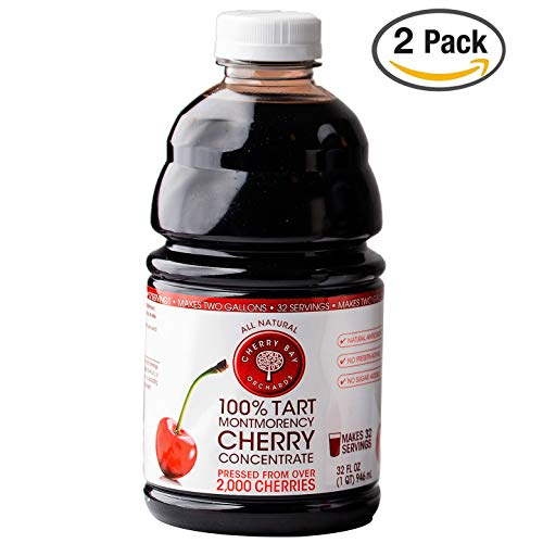 Cherry Bay Orchards Tart Cherry Concentrate - Natural Juice to Promote Healthy Sleep, 32oz Bottle (Case of 2)