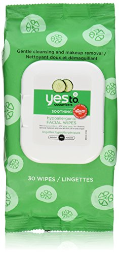 Yes To Cucumber Soothing Hypoallergenic Facial Wipes, 30 Count (Pack of 2)