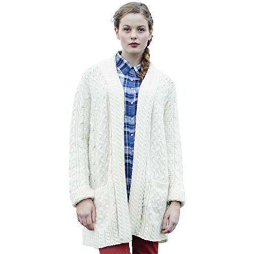 Carraig Donn Ladies Irish Back Shawl Cardigan Small White by Carraig Donn