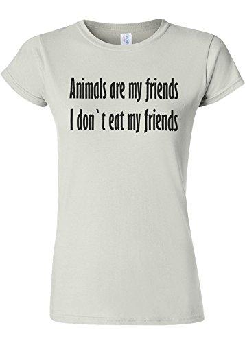 失速保存登録Animals Are My Friends Funny Novelty White Women T Shirt Top-S