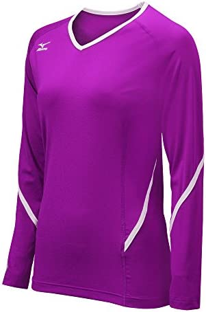 Mizuno Women's Techno Generation Long Sleeve Jersey, Purple/White, X-Large