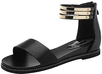 T&Mates Womens Summer Fashion Open Toe Ankle Strap Back Zipper Flat Sandals