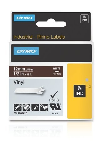 Dark Brown Rhino - DYMO Rhino Adhesive Vinyl Label Tape, 1/2-inch, 18-foot Cassette, Brown (1805412)