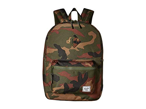 (Herschel Kids' Heritage Youth XL Children's Backpack, Woodland Camo/Army Rubber, One Size)