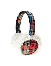 ZLYC Women Fashion Print Faux Fur Ear Warmers Winter Outdoor Earmuffs, Red