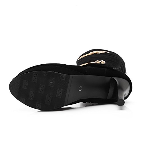 Knee Boot Heels Womens Knight Solid Black High High BalaMasa PU tBqHwv
