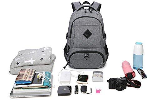 Herren Travel strapazierfähig leicht lässig Wasserabweisendes Polyester Laptop Rucksack mit USB-Ladeanschluss 8030GY freesize 8030GY SmWw63MnV8