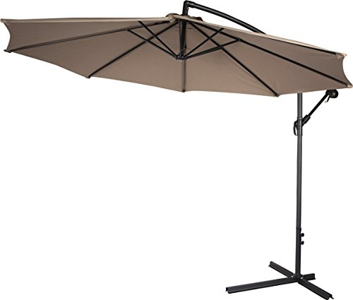 Belleze Patio Umbrella 10 Ft Offset Cantilever Umbrella Outdoor Market Hanging Umbrellas and Crank w. Cross Base, (Beige)