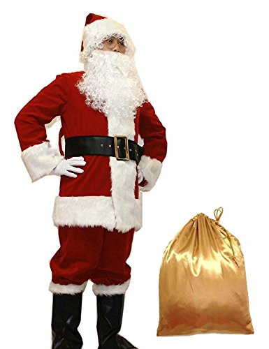 ADOMI Santa Suit 10pc. Plush Adult Costume Red XL (Deluxe Costume Gloves)