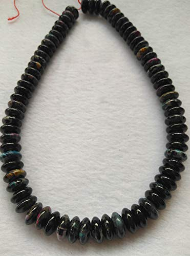 (12mm fire Agate Gemstone Blue oranger red Black heishi rondelle Loose Beads)