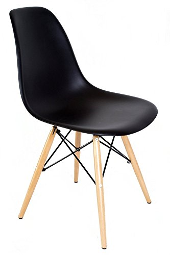 Ariel- Eames Style DSW Molded Black Plastic Shell Chair with Wood Eiffel - Shell Task