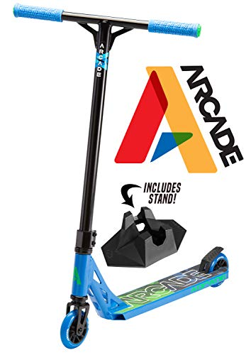 Arcade Pro Scooters - Stunt Scooter for Kids 8 Years and Up - Perfect for Beginners Boys and Girls - Best Trick Scooter for BMX Freestyle Tricks (Blue/Green)