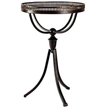 Iron Base Pedestal Design End Table - End Table with Glass Top - Brown