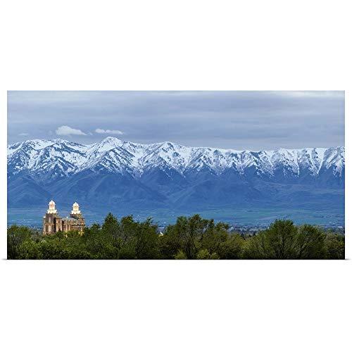 GREATBIGCANVAS Poster Print Entitled Logan Utah Temple and Wellsville Mountains, Logan, Utah by Scott Jarvie 36