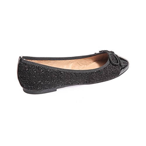 La Modeuse–Bailarinas planas de Tweed Munie con punta redonda brillante Negro - negro