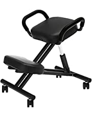 soges Ergonomic Kneeling Chair Height and Angle Adjustable Stool Knee Chair with Armrest,Thick Foam Cushions and Casters for Home Office Posture Corrective Black, YKTH-EKC-B-2-CA