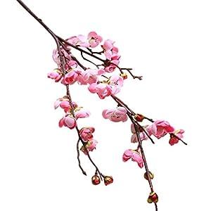 LtrottedJ Artificial Fake Flowers Plum Blossom Floral Wedding Bouquet Home Decor Pink (Pink) 3