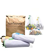 Reusable Produce Bags, Lavinrose Reusable Mesh Produce Bags with Drawstring & Tare Weight Tags, Durable Overlock-Stitched Strength, See-Through & Washable Storage Bags (Set of 9)