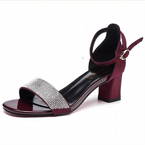 Sandalias de Tacón Alto de Mujer Sandalias de Moda de Mujer Grueso con Sandalias Casuales de Moda Salvaje Sandalias de Moda Gamuza Goma Cabeza Cuadrada Tacón de Aguja (3-5Cm) Tacón Hebilla Diamante de