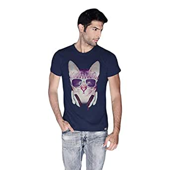 Cero Cool Cat Retro T-Shirt For Men - L, Navy Blue