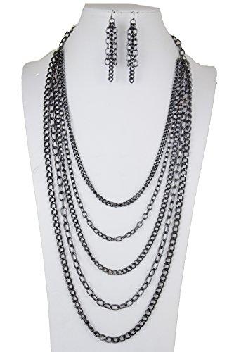 TFJ Women Fashion Long Necklace Gunmetal Metal Chain Links Multi Strand Strings Jewelry Set