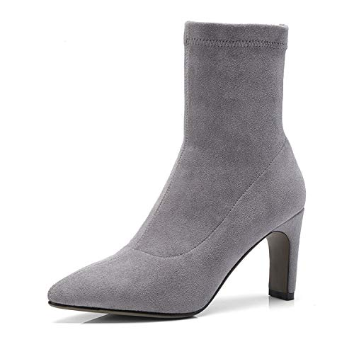 Femme à Bottines Grey Pointu Plat Talon pour à Bout q0vrqwdx