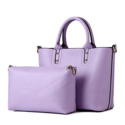 Desklets Women's 2 Piece Vintage Sling Tote Bags Top Handle Handbag(Purple)