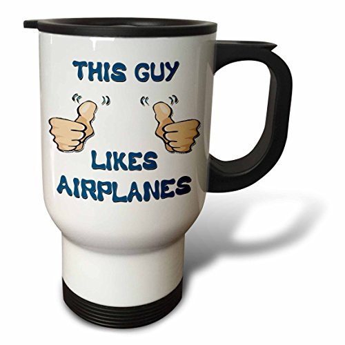 3dRose This Guy Likes Airplanes Travel Mug, 14-Ounce