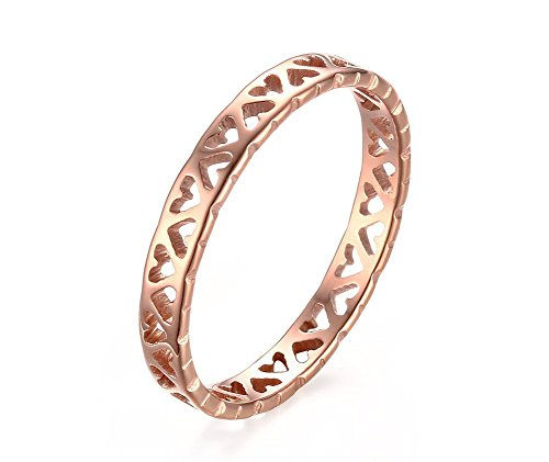 (VNOX Womens Girls Stainless Steel Tiny Heart Hollow Engagement Promise Filigree Band Ring Rose Gold Plated,Size 8)