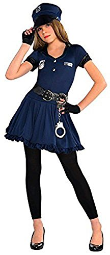 Cutie Cops and Robbers Party Policewoman Costume, Polyester Fabric, Children's Medium (8-10), 3-Piece Set
