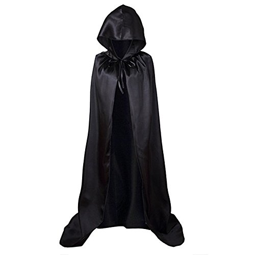 Starkma Unisex Full Length Hooded Cape Costume Cloak Devil Witch Wizard Magician Cosplay Cape (110cm (suitable height 130cm), Black)