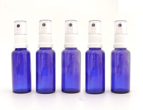 Pack de 5 x frascos de cristal azul 30ml con tapa pulverizador/spray blanco.