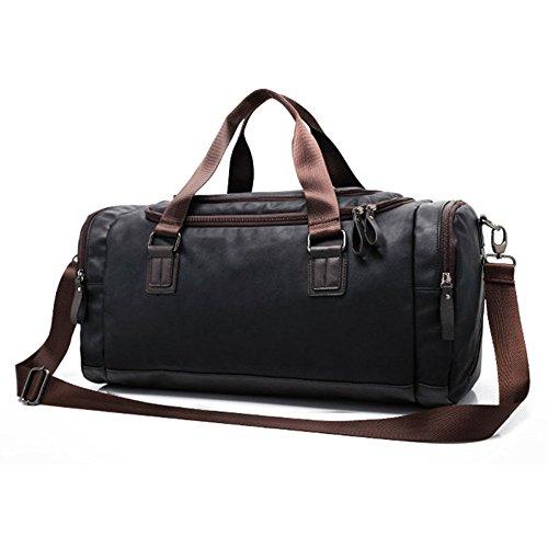 医薬百アウトドアNew Arrival Men's PU Leather Sports Bag Duffel Tote Handbags Travel Bag for Gym Fitness Male Bag Man Women Camping