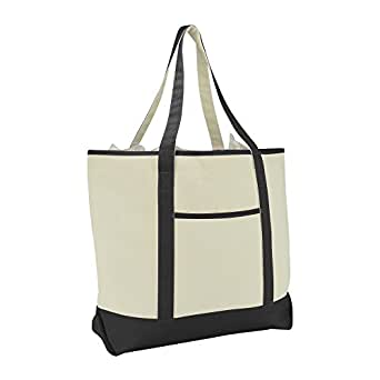 "22"" Extra Large Zippered Shopping Tote Grocery Bag with Outer Pocket in Black"