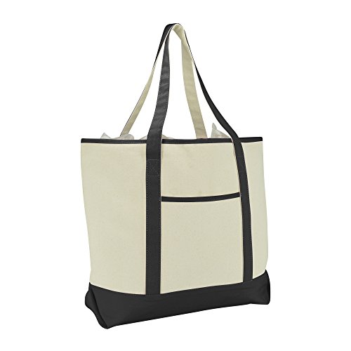 "22"" Extra Large Zippered Shopping Tote Grocery Bag with Oute"