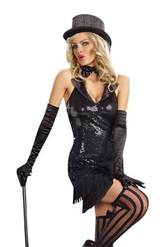 Black Cabaret Costumes - Dreamgirl Women's Cabaret Doll Costume, Black,