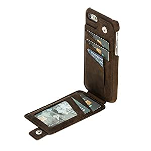 Burkley Genuine Leather Snap-on Case with Attached Bifold Wallet for Apple iPhone 8/7 | Magnetic Flip Closure with Card Holders | Hand-wrapped in Premium Turkish Leather (Antique Coffee)