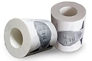 Donald Trump Toilet Paper Roll With Clear Case - Funny Gag Gift for Democrat or Republican - Novelty Toilet Paper By Political Wipes