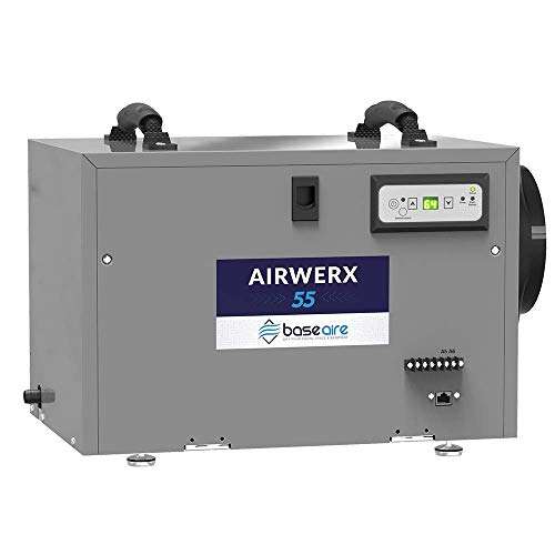BaseAire AirWerx55 Crawl Space Dehumidifier, Basement Dehumidifier Removes 55 Pints at AHAM, Covers 1,300 sq.ft. Fitted 5 Years Warranty, HGV Defrosting, Remote Controlled (Best Whole House Dehumidifier)