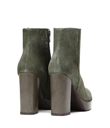 Poi Lei PoiLei Fiorella - Damen-Schuhe/Exklusive Plateau-Stiefelette Aus Echt-Leder - Ankle-Boot mit High-Heel Block-Absatz - Gruen