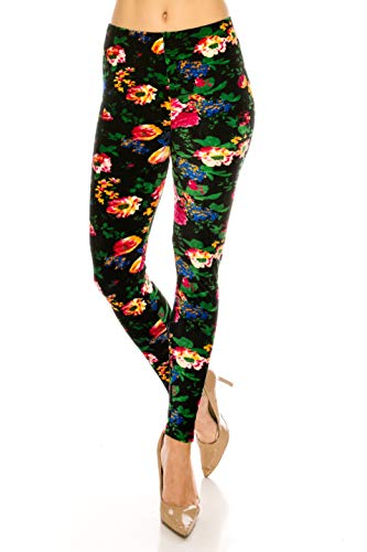 (ALWAYS Women Floral Velvet Leggings - Premium Soft Stretch Warm Winter Printed Patterned Pants Plus Size)