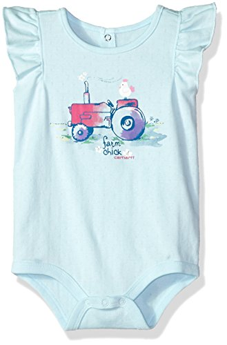 (Carhartt Baby Girls Short Sleeve Bodyshirt, Blue Glow, 18M)