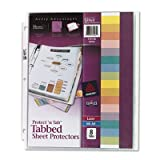 Avery Products - Avery - Protect 'n Tab Top-Load Clear Sheet Protectors w/Eight Tabs, Letter - Sold As 1 Set - A sheet protector and index all in one. - Print on tabs with laser printers, inkjet printers, or typewriters. - Specially formulated nonstick ma